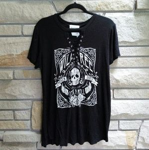 American Rebel black lace up rock graphic tee xl
